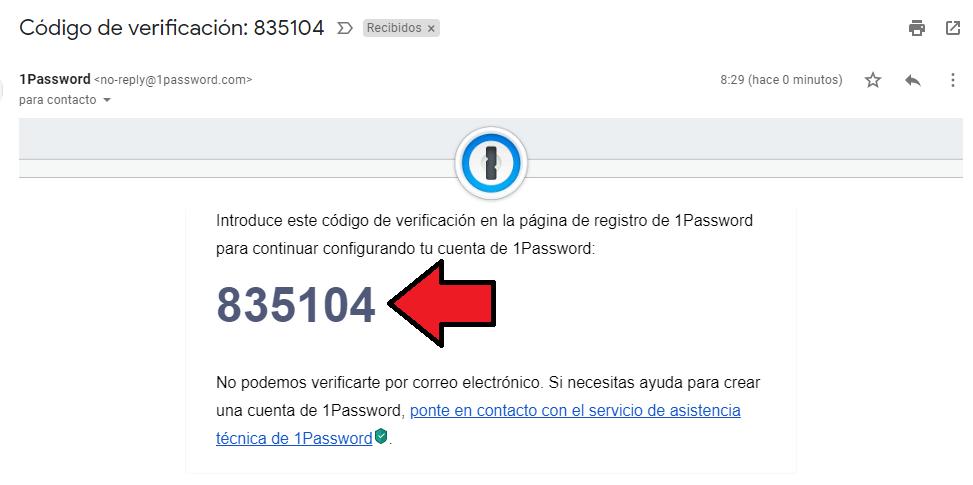 validación 1Password