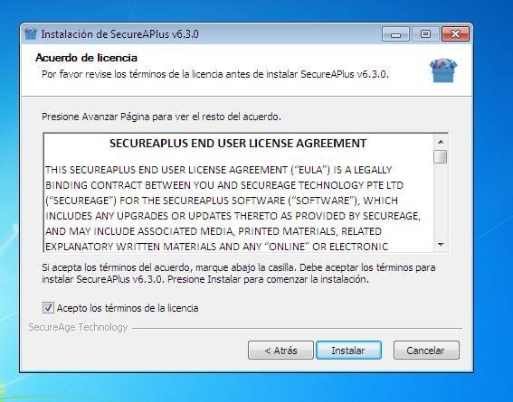 SecureAPlus Pro - Instalación