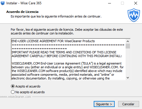 instalación Wise Care 365